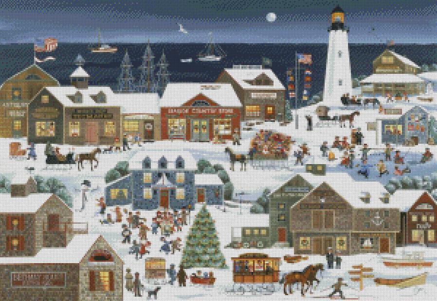 Carol Dyer cross-stitch - Seaside Country Christmas