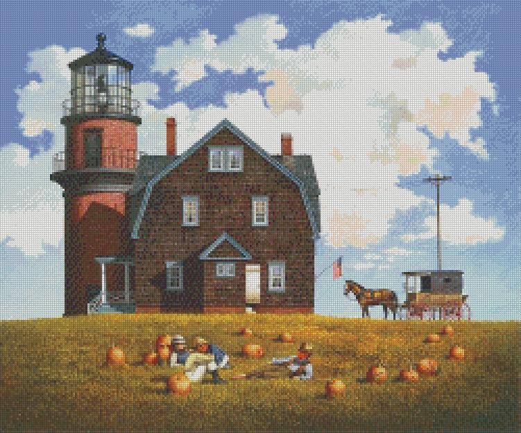 Charles Wysocki - Gay Head Light cross stitch chart