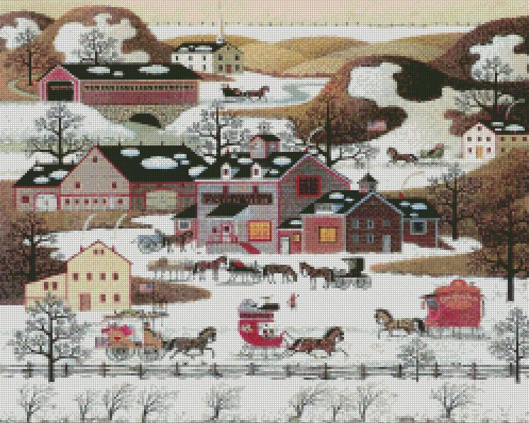Charles Wysocki cross-stitch - Gifts, Antiques and Cakes