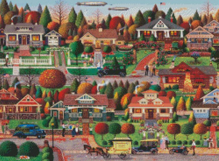 Charles Wysocki cross-stitch - Labor Day in Bungalowville
