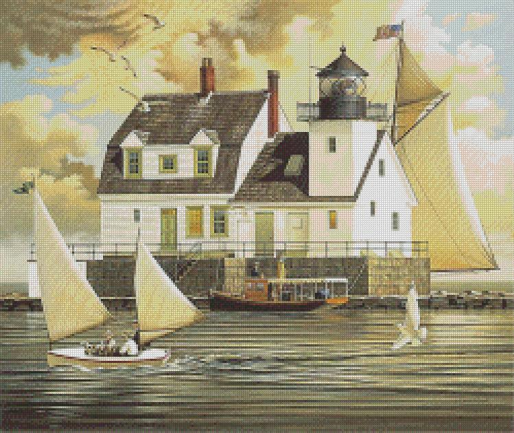 Charles Wysocki - Rockland Breakwater Light cross stitch chart