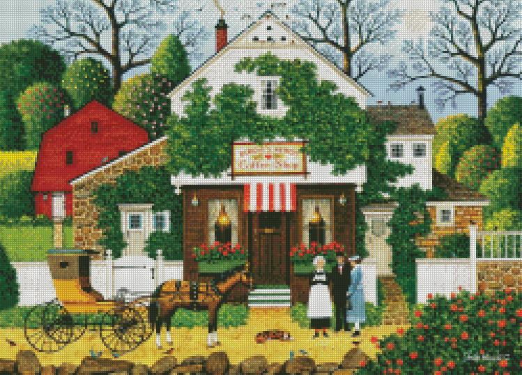 Charles Wysocki cross-stitch - Small Talk