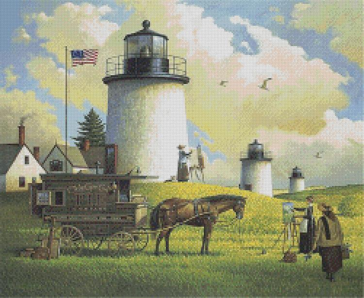 Charles Wysocki - Three Sisters of Nauset cross stitch chart