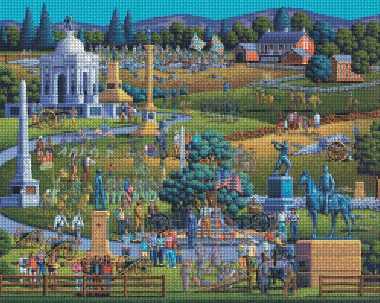 Eric Dowdle cross-stitch - Gettysburg