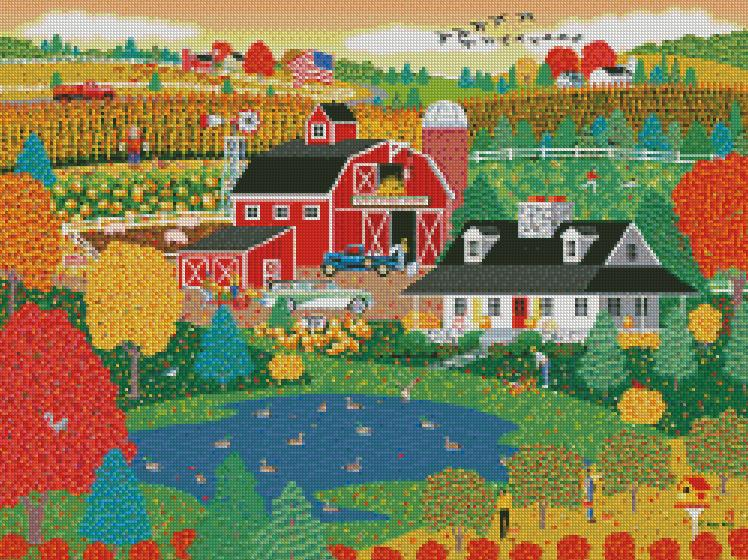 Mark Frost cross-stitch ApplePond Farm Fall