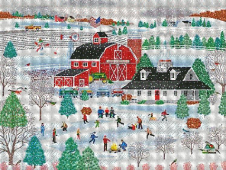 Mark Frost cross-stitch ApplePond Farm Winter