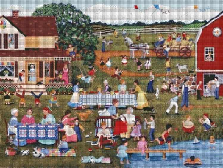 Sheila Lee cross-stitch - Annual Family Reunion