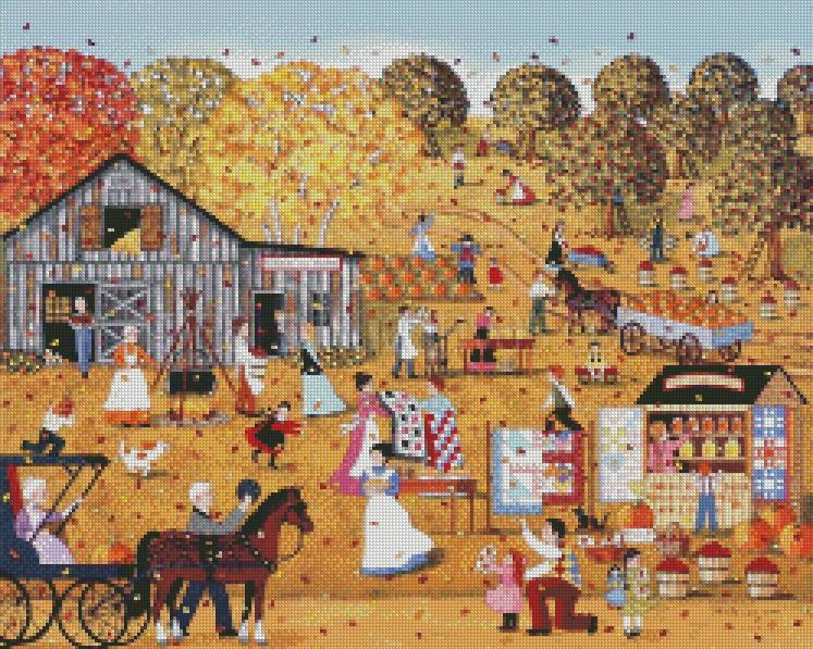 Sheila Lee cross-stitch - October gave a party cross stitch